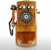 Wooden Wall Phone Country Kitchen Retro Telehone Collectors Birthday Gifts Brown