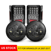 7 Inch Round Led Headlights Brake Reverse Rear Tail Light For Jeep Jk 2007-2017