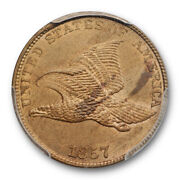 1857 1c Flying Eagle Cent Pcgs Ms 63 Uncirculated Ddo Fs-101 S-4 Snow 4