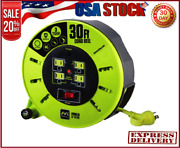 Masterplug 40ft Heavy Duty Extension Cord Case Reel With 4 Outlets 120v / 10 Amp