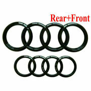 Set Front And Rear Grille Badge Rings Logo Emblem Black Gloss For Audi A3 A5 A4 A6