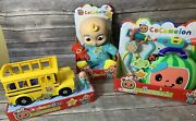 Cocomelon Musical Toy Lot - Bedtime Jj Doll School Bus Doctor Checkup Set New