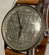 Moshe Dayan/12 Tribes 1948 Silver Commemorative Coin Mechanical Mens Watch_rare