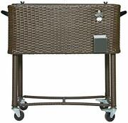Permasteel Ps-208-bb-am 80 Quart Portable Rolling Patio Cooler Dark Wicker