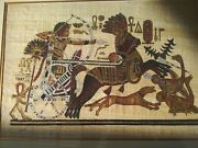 Vintage Framed And Signed Egyptian God King Hand Painted Papyrus Rames Chariot