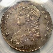 1829 Capped Bust Letter Edge Silver Half Dollar Spectacular Toned Gem Pcgs Ms 62