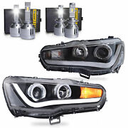 Customized Led Headlights W/drl Single Beam+h1andh7 Led Bulbs For 08-17 Lancer