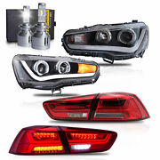 Led Headlights W/dual Beam+red Clear Taillights+h7 Led Bulbs For 08-17 Lancer