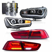 Led Headlights W/dual Beam+red Smoked Taillights+h7 Led Bulbs For 08-17 Lancer