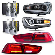 Led Headlights W/dual Beam+red Smoke Taillights+h1andh7 Led Bulbs For 08-17 Lancer