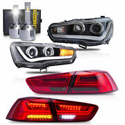 Led Headlights W/dual Beam+red Smoked Taillights+h1 Led Bulbs For 08-17 Lancer