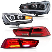 Free Shipping To Pr For 08-17 Lancer Led Headlights Single Beam+red Taillights