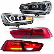 Free Shipping To Pr For 08-17 Lancer Headlights Single Beam+red Smoke Taillights