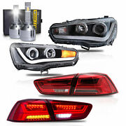Free Shipping To Pr For 08-17 Lancer Headlights Dual Beam+red Taillight+h1 Bulbs