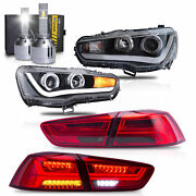 Free Shipping To Pr For Lancer Headlight Dual Beam+red Smoke Taillight+h1 Bulbs