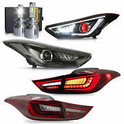 Free Shipping To Pr For 11-16 Elantra Demon Headlight+red Tail Light+d2s Bulbs