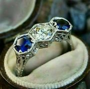 3 Ct Antique Round Cut White And Sapphire Diamond Wedding Ring 14k White Gold Over