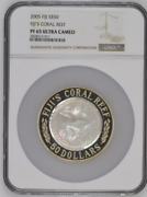 2005 S50 Fiji 5oz Silver Mother Of Pearl Fijiand039s Coral Reef Ngc Pf65uc Rare
