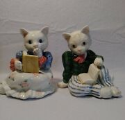 Fitz And Floyd Cat Bookends Vintage Pair Of 2 Porcelain His And Hers 1989 Taiwan