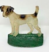 Vintage Doorstop Fox Terrier 351 Hubley 6 Inches Tall Door Stop Cast Iron