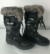 Aldo Womenand039s 6.5 Boots Black Silver Loops And Ties Faux Fur Lined Rubber Soles