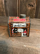 Antique Towles Log Cabin Syrup Tin Box C 1920's Little Girl Cartoon Vintage 1901