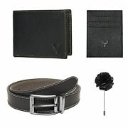 Leather Wallet Card Holder Brooch Pin And Belt Gift Combo Valentine Day Gift