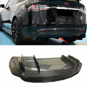 For Tesla Model X 16-2021 Carbon Fiber R Style Rear Bumper Lip Diffuser Bodykit
