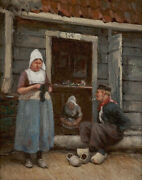 High Quality Oil Painting Handpainted On Canvas  Talk At The Front Door.