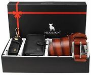 Leather Card Holder Belt And Keychain Combo Box Valentine Day Gift Set For Men
