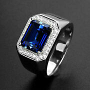 Natural Tanzanite Men's Ring In Solid 14k Pure White Gold Men's Gem Jewelry