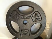 Weight 2.5, 5, 10, Or 25lb Pound Cast Iron Standard 1/olympic 2 Barbell Plates