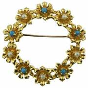 Classic 14 Karat Gold Flower Wreath Brooch Pin With Pearls And Turquoise Accents