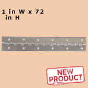 1 X 72 Piano Hinge Continuous Unfinished Aluminum W/ Hole Full Surface New