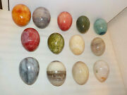 Lot Of 13 Marble Alabaster Easter Eggs Assorted Colors