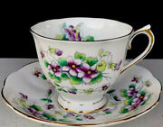 Rear-royal Albert Tea Cup And Saucer Sweet Violet Gold Decor Made In England