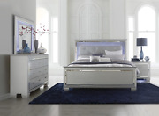 New Silver Led Light Queen Or King 4pc Bedroom Set Modern Furniture Bed/d/m/n