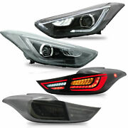 Free Shipping To Pr For Elantra 11-16 Sedan Coupe Headlights+smoke Taillights
