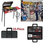 Big Gas Grill 3-burner Outdoor Stove With Bbq Grill Tool Set,10-piece