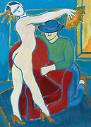 Jean Marc 1949-2019 20th Century French Modernist Painting Nude Model Interior