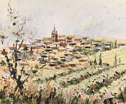 Gerard Laime B.1939 Signed French Oil - Hill Top Perched Village Provence