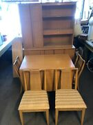 Mcm Basket Weave Cupboard Hutch Mid Century Modern Matching Table And Chairs