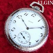 Sparkling Art Deco 1923 Elgin Pocket Watches Silver 12s Moving Goods