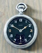 Elgin Military Black Dial Pocket Watches 1942 Good Condition