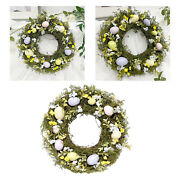 Collection Easter Egg Wreath 35cm Rattan Garland Farmhouse Party Decoration