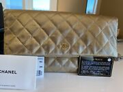 Auth Gold Metallic Classic Quilted Clutch Leather W Tag Authentic Card.