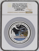 2002 Cook Islands 10 Silver 10oz Battle Of The Coral Sea Ngc Pf69uc Colorized B