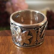 Silpada Sterling Silver R1739 Celestial Wide Band Ring Size 7 Htf