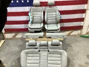 03-04 Audi Rs6 Full Grey Leather Seat Set - Front Bags Blown Special Piping
