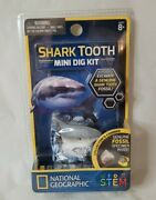 National Geographic Shark Tooth Mini Dig Kit Genuine Fossil Specimen 2017 New